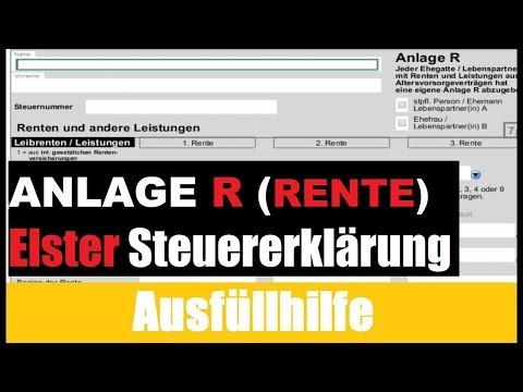 Anlagen R RENTE 2016 Steuererklärung selber machen ELSTER Tutorial / Erklärung / Ausfüllhilfe