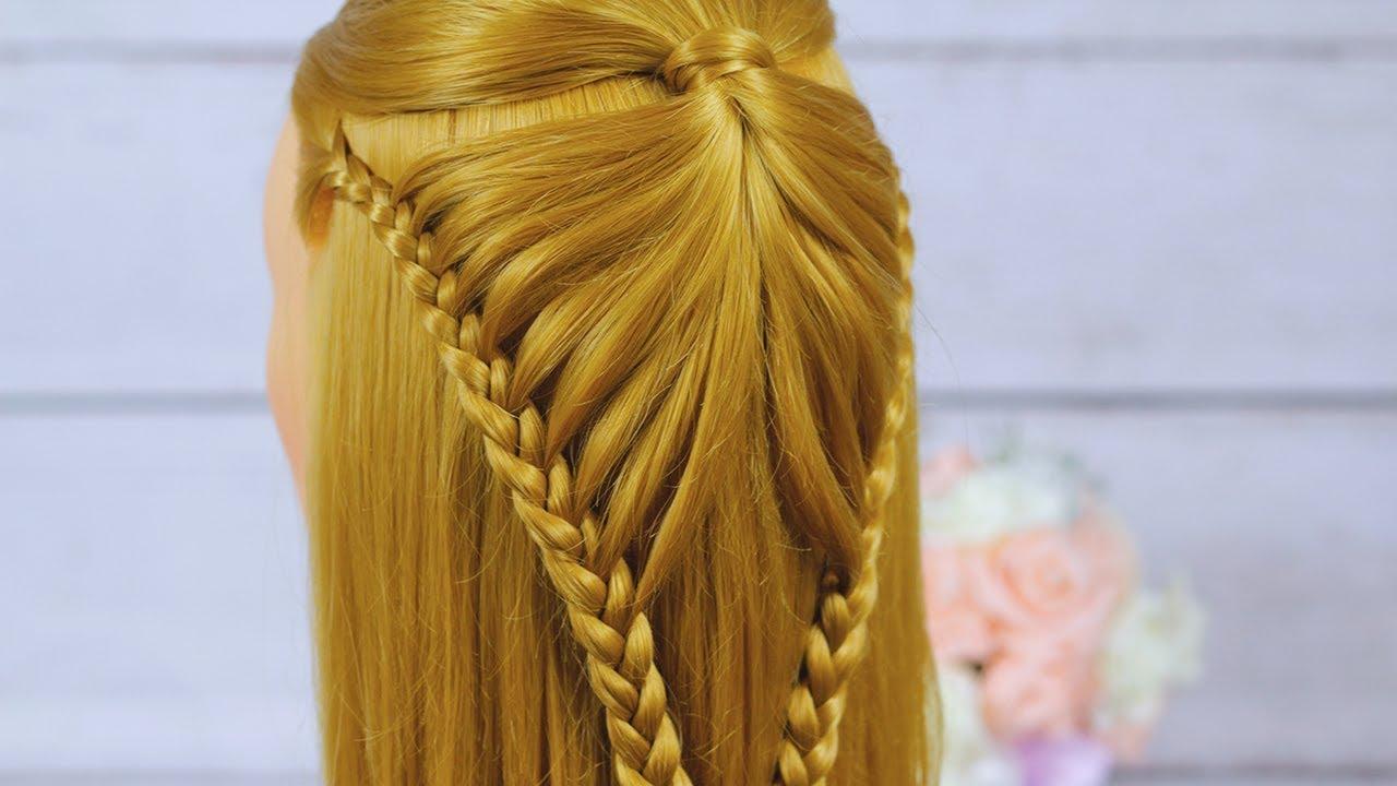 Прическа из косичек.Красивая прическа с плетением из кос.Очень легкое плетение