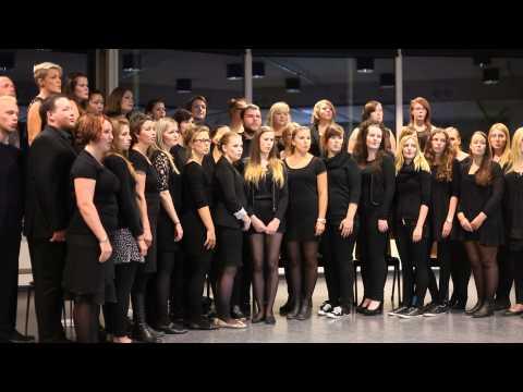 Studentkoret fra Høgskolen i Nord-Trøndelag synger Deilig er den himmel blå.