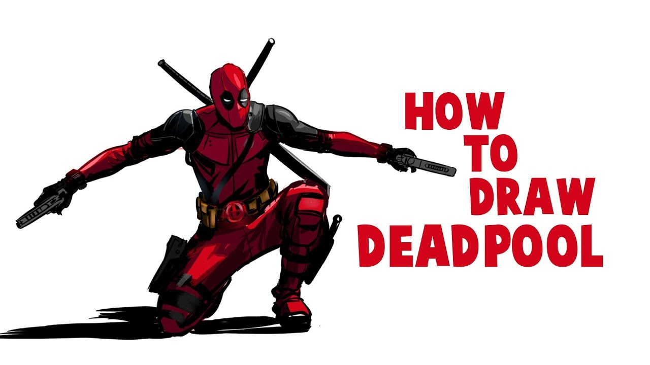 How to draw deadpool drawing deadpool full body drawing and coloring deadpool in krita