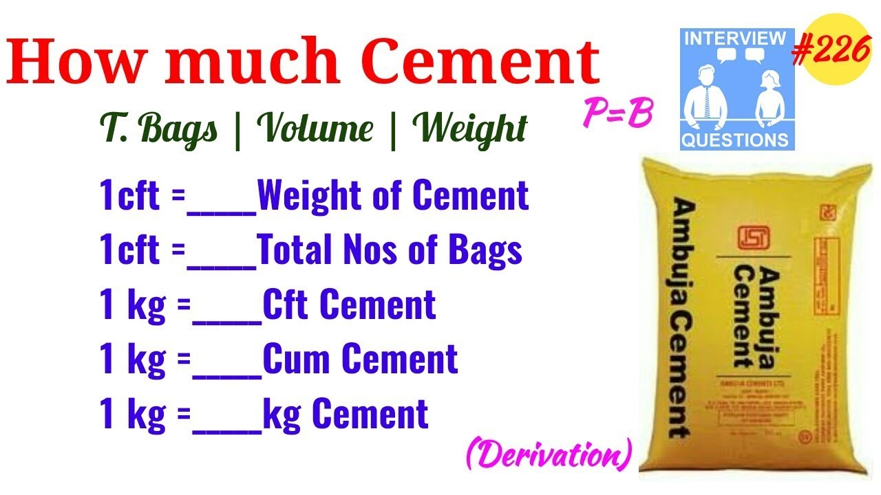 How Much Kg In 1 Cft Of Cement Many Bag 1kg No