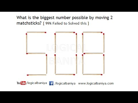 Move 2 Matchsticks And Find The Gest Number 508 Matchstick Puzzle