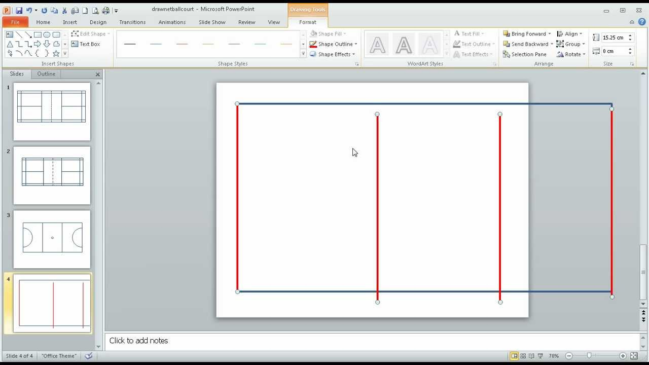 Step 1 in Using PowerPoint to draw a 'to-scale' netball court