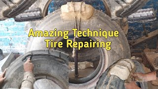 Amazing Technique old tire repairing