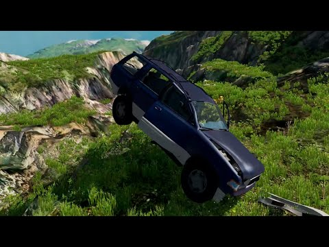Beamng Drive - Cars turn to trash after falling off a large cliff - Car Games TV |