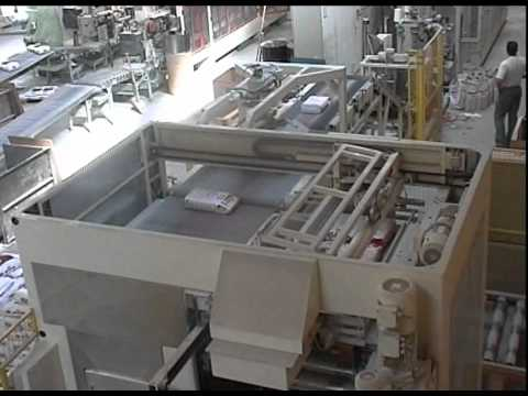 Ehcolo palletiser for building material in paper bags.