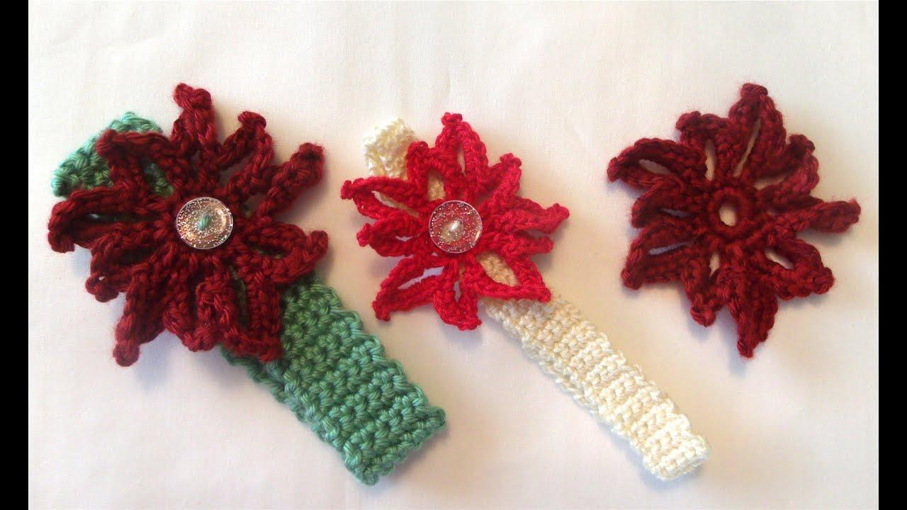 How To Crochet A Christmas Poinsettia Flower Youtube