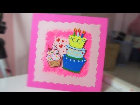 DIY Birthday Card with Nail polish | Cách làm Thiệp sinh nhật với sơn móng tay | Ami DIY