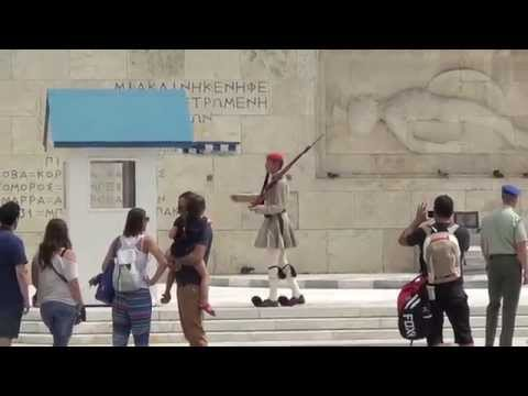 Greek Guards Evzoni guarding the Tomb of the Unknown Soldier in Athens
