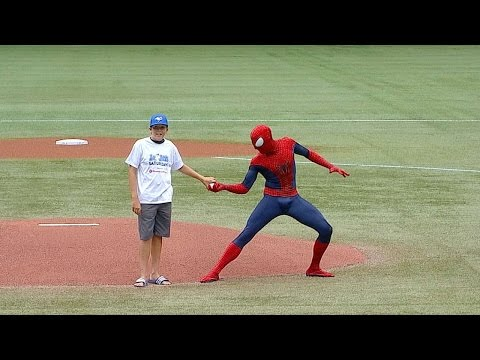 Spider-Man helps young fan throw first pitch