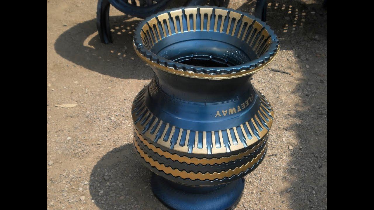 Como reciclar llantas usadas en macetas jarrones grandes - Como hacer maceteros grandes ...