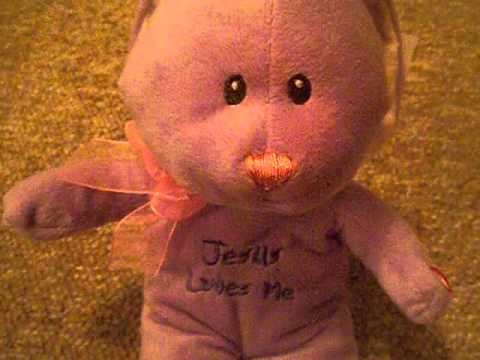 JESUS LOVES ME PURPLE BUNNY TEDDY BEAR THAT SINGS 'JESUS LOVES ME' SONG