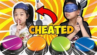 BLINDFOLDED Don't Push the Wrong Button Slime PRANK Challenge Janice CHEATED! JK | Fun Kids Video