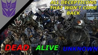 ALL DECEPTICONS THAT WON'T BE IN TRANSFORMERS THE LAST KNIGHT AND HOW THEY DIED.