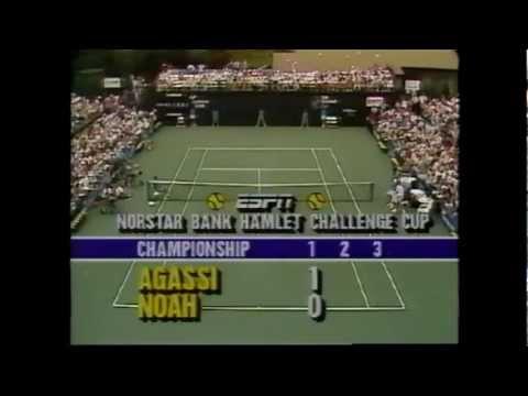Andre Agassi vs Yannick Noah 1988 Long Island 1/4