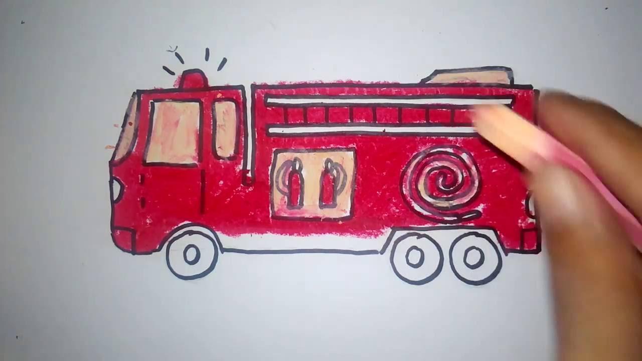 cara menggambar mobil pemadam kebakaran untuk anak PAUD dan TK