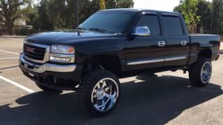 gmc sierra lifted 6 inch rough country gear 22x12 wheels 33 tires