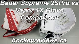Bauer Supreme 2S Pro vs Vapor 1X Catcher Glove Comparison Snap Shot