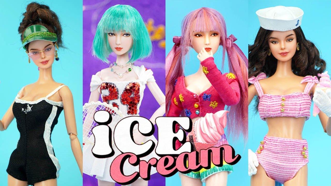 Barbie Doll Makeover ~ DIY Miniature Ideas for Barbie ~ Selena Gomez, Jennie, Lisa, Ice Cream