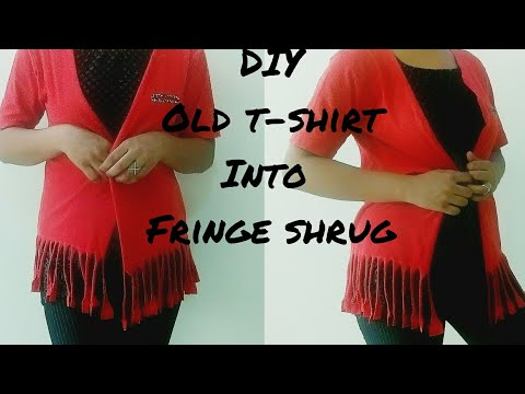 DIY:NO SEW OLD T-SHIRT INTO FRINGE SHRUG 