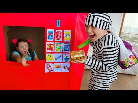 ALİ ADRİANANIN İÇECEKLERİ ALDI Kids Pretend Play With Huge Toy Box Vending Machine