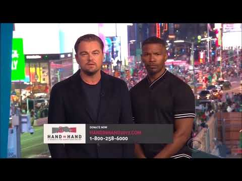 Leonardo DiCaprio and Jamie Foxx speak for Hurricanes Harvey and Irma Hand in Hand relief fund.