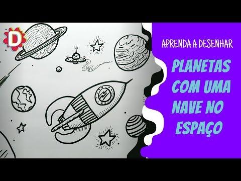 Planetas E Uma Nave Foguete No Espaco Universo Como Desenhar