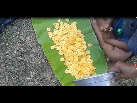 Cooking Farm Fresh Banana Chips In My Village Farm - Nendhiran Chip - Food Money Food