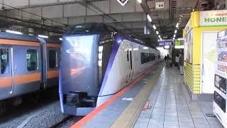 【中央線特急停車見納め】中央線E353系特急かいじ107号甲府行三鷹駅到着~発車※接近放送から