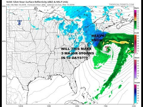 MAJOR STORM THIRD IN 10 DAYS THREATENS PARTS OF THE NORTHEAST MONDAY INTO TUESDAY