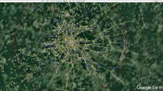 Tzar Bomba effects on different cities from Google Earth