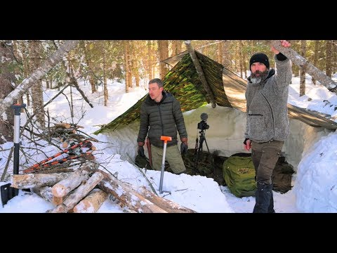 DEEP WINTER BUSHCRAFT-Sleeping in the Snow-Goat Roast-Snowshoe and Sled.