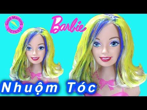 Nhuộm Tóc &Trang Điểm Cho Barbie Bằng Màu Nước Crayola Finger Paint  Barbie Head Make Up Toys