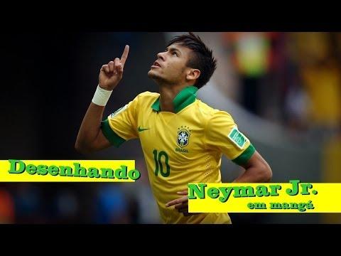 Desenhando Neymar Jr em mangá ONLY BEST DRAWING  - WORLD CUP BRAZIL  NEYMAR JR