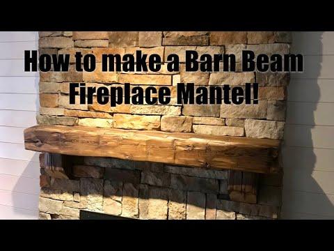 Making a barn beam fireplace mantel. Reclaimed Wood