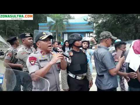 Aksi Heroik Kapolda Sultra Redam Demo Mahasiswa di Tengah Hujan Batu
