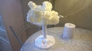 Светильник из белых роз своими руками.ч.1