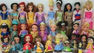 DISNEY PRINCESSES Dolls Learn Sizes from Smallest to Big Rapunzel Ariel Belle Tiana Aurora