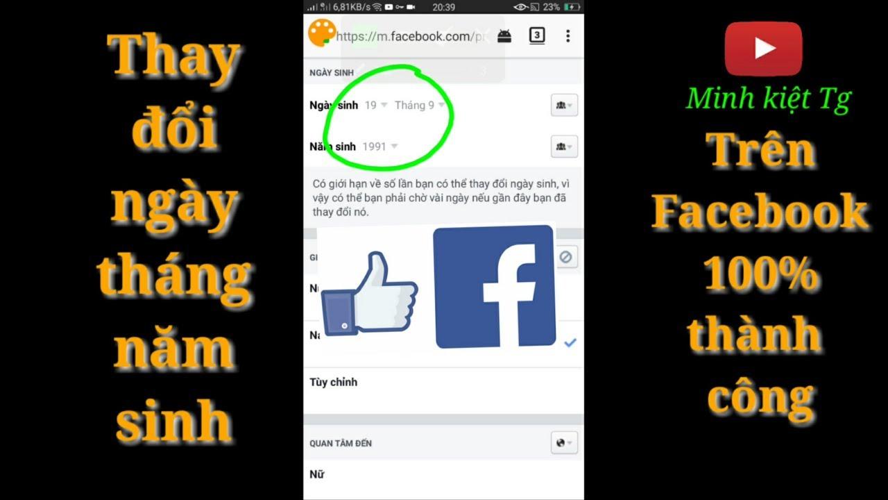 Cách thay đổi ngày tháng năm sinh trên facebook | Minh kiệt – Tg