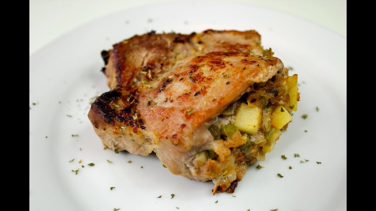 Apple Stuffed Pork Chop Recipe - YouTube