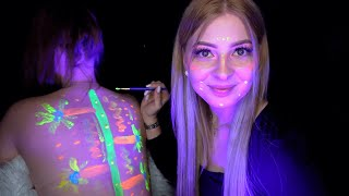 ASMR • BLACKLIGHT BODYPAINTING 🔮 • GLOW UP WITH ASMR JANINA 🤯