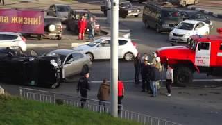 Авария на казанском шоссе / Машина перевернулась от удара