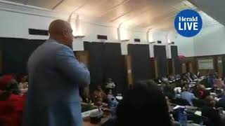 SA political leader dishing out insults and threatening colleagues in Parliament