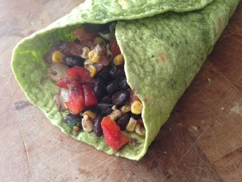 Spicy Black Beans Veggie Wrap Recipe (Healthy, Quick Lunch Idea)