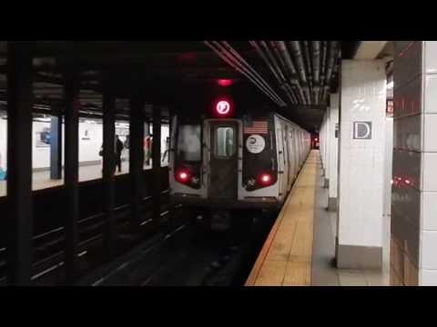 Queens-bound R160A-2 (F) train leaving Delancey Street (IND Sixth Avenue Line)