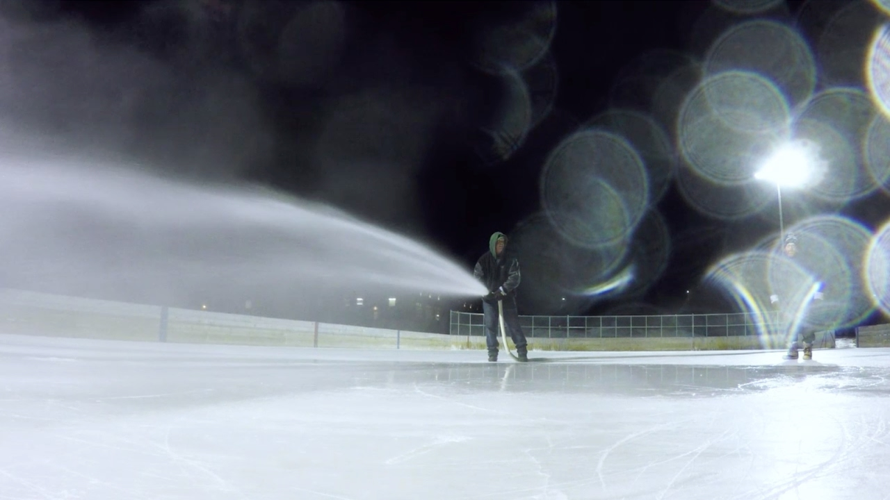 on the job outdoor ice rink maintenance february 2017 youtube
