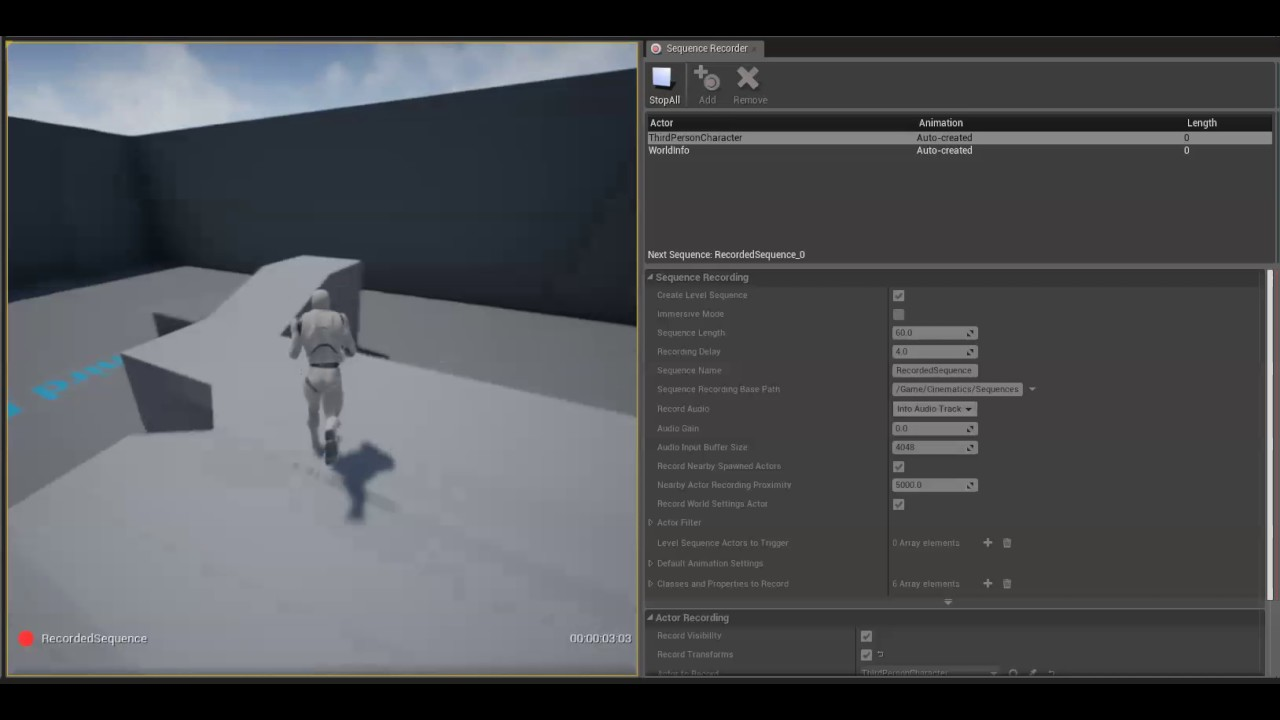 Recording to Sequencer | Unreal Engine Documentation