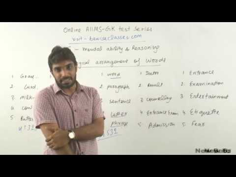 9. Mental Ability and Reasoning 2 for AIIMS 2018