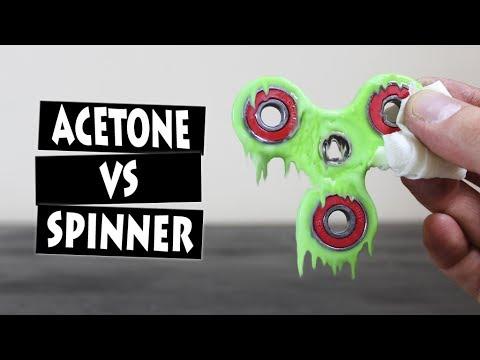 ACETONE VS HAND SPINNER FIDGET TOY   EXPERIMENT