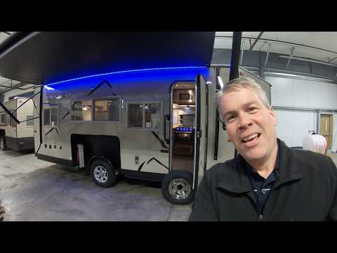 2019 Grey Wolf 17BBH Fish House With Fiberglass Exterior, Hydraulic Lift, And Fireplace!
